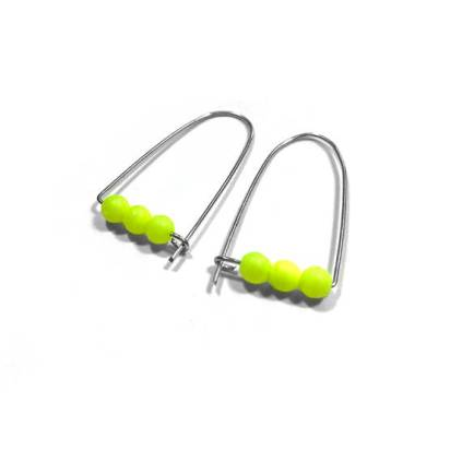 $13 - Neon Yellow Beaded Earrings