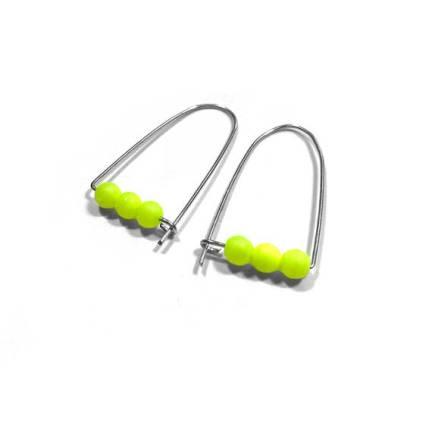 $13 - Neon Yellow Beaded Earrings